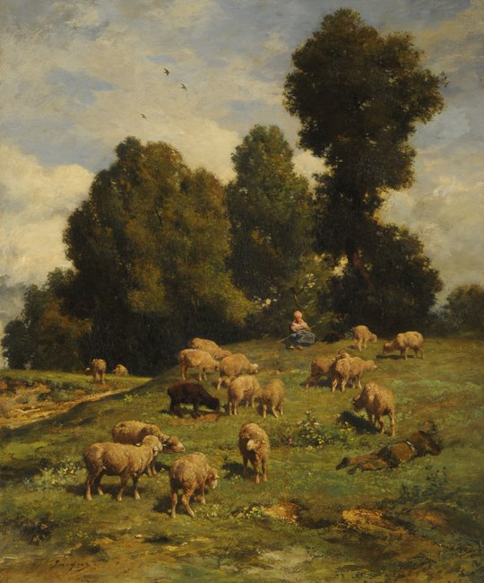 Moutons au pâturage (Carneros pastando)